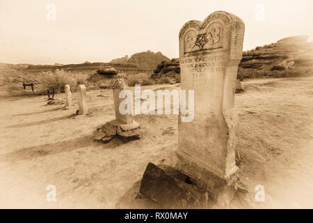 Tombstones in the Grafton Cemetery, Grafton ghost town, Utah USA - Stock Photo