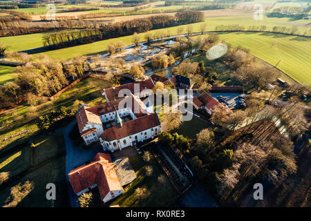 Aerial view on the monastery of Kloster Vinnenberg, a popular landmark and tourist site in Warendorf, Münsterland, Westfalia, Germany - Stock Photo