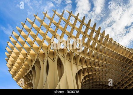 Seville, Spain - Dec 2018: Bottom up view of Mushrooms of Seville , also known as Metropol Parasol. It was designed by the German architect Jurgen May