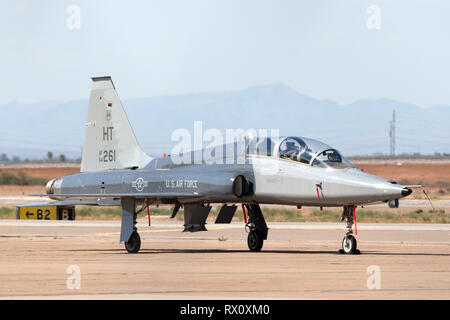 United States Air Force (USAF) Northrop T-38 Talon jet trainer aircraft from Holloman Air Force Base at Phoenix-Mesa Gateway airport in Arizona. - Stock Photo
