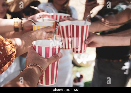 Toasting drinks at a picnic, summer vibes - Stock Photo