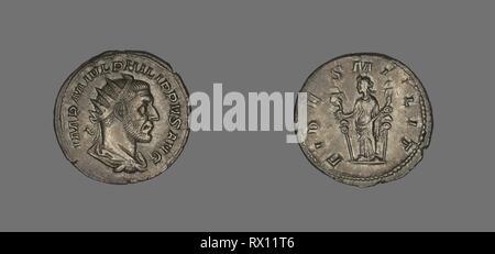 Denarius (Coin) Portraying King Philip II. Roman. Date: 244 AD-247 AD. Dimensions: Diam. 2.2 cm; 3.77 g. Silver. Origin: Rome. Museum: The Chicago Art Institute. Author: ANCIENT ROMAN. - Stock Photo