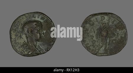 Sestertius (Coin) Portraying King Philip II. Roman, minted in Rome. Date: 244 AD-246 AD. Dimensions: Diam. 2.9 cm; 18.03 g. Bronze. Origin: Roman Empire. Museum: The Chicago Art Institute. Author: ANCIENT ROMAN. - Stock Photo