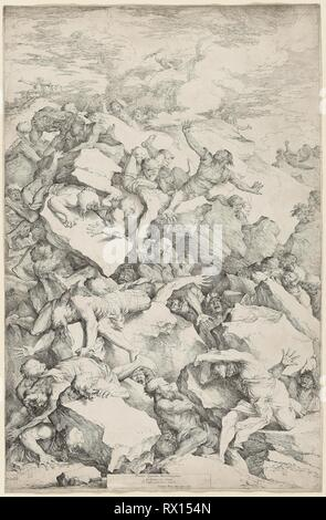 The Fall of the Giants. Salvator Rosa; Italian, 1615-1673. Date: 1663. Dimensions: 728 x 474 mm. Etching with drypoint in black on ivory laid paper. Origin: Italy. Museum: The Chicago Art Institute. - Stock Photo