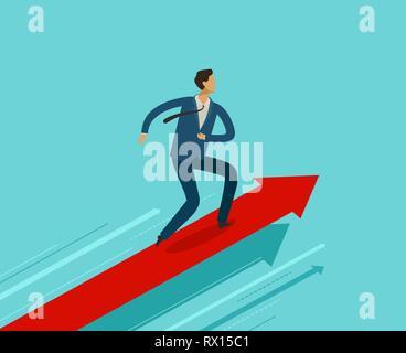 Businessman running on growth graph. Success, achievement, breakthrough concept. Business infographics - Stock Photo