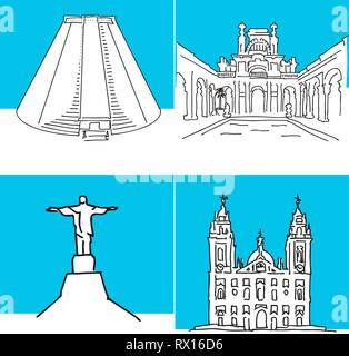 Rio de Janeiro set of buildings. Hand-drawn high quality vector outline drawings. - Stock Photo