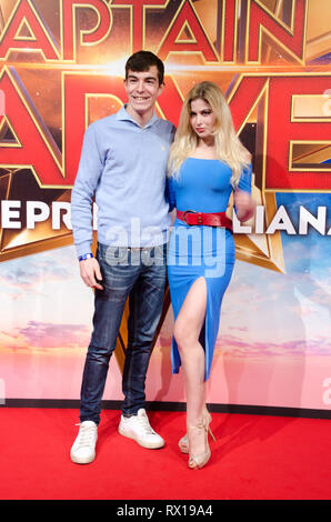 Antoinette Aron and Andrea Pirillo at Captain Marvel premiere red carpet, at Fabrique. Milano, March 5th, 2019 - Stock Photo