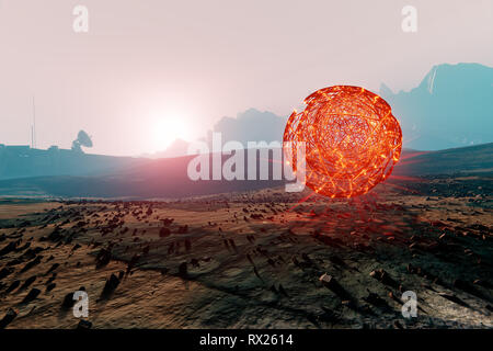 Landscape of Mars, floating spherical structure of unknown  energy, 3d illustration - Stock Photo