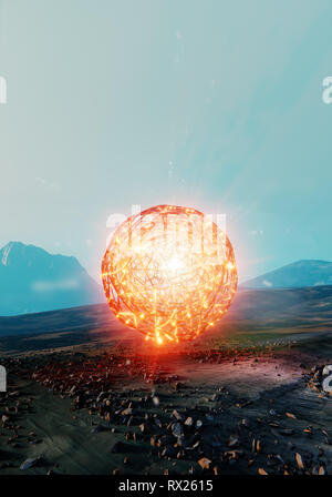 Floating abstract ball, spherical structure of unknown energy found on Mars, 3d illustration - Stock Photo