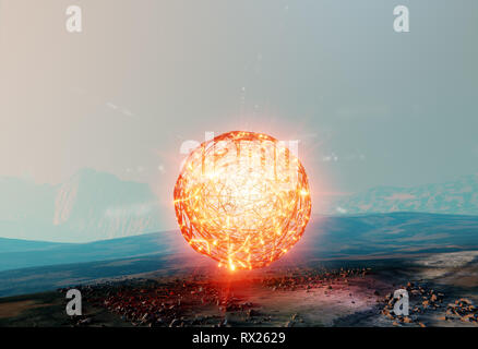 Floating ball of light, spherical structure of unknown energy, antigravity found on Mars, 3d illustration - Stock Photo