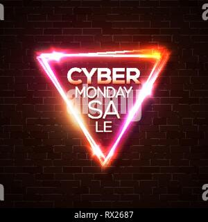 Cyber Monday Sale promo neon vector background. - Stock Photo