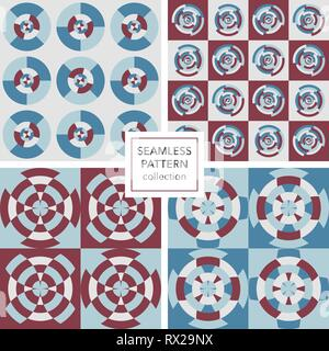 A collection of seamless pattern. Circular and abstract shapes. - Stock Photo