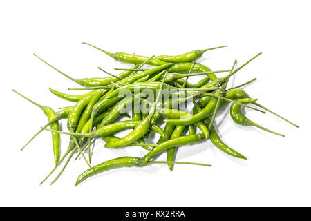 Fresh green chili pepper isolated on white background. - Stock Photo