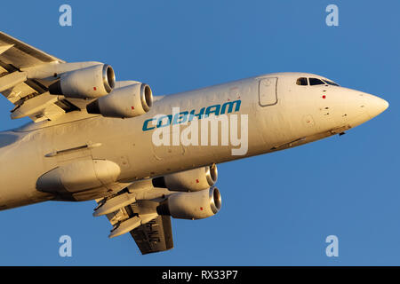Cobham Aviation British Aerospace 146-300 aircraft VH-NJZ taking off from Adelaide Airport. - Stock Photo