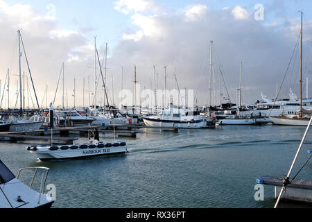Yarmouth Harbour and Marina Harbour Taxi, Yarmouth, Isle of Wight, UK. - Stock Photo