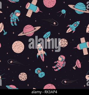 Vector seamless pattern with cosmonauts, satelites, rockets, planets, moon, falling stars and UFO in sketchy style. Cosmic elements on the starry dark - Stock Photo