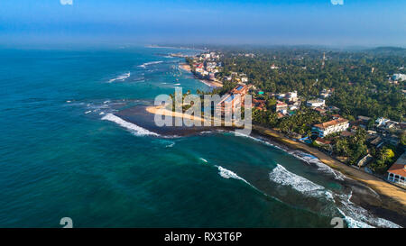 Aerial. Hikkaduwa beach. Sri Lanka. - Stock Photo