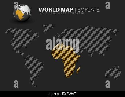 World map template made from diagonal lines for your infographics reports - dark version - Stock Photo