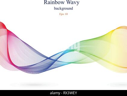 Wavy abstract design in rainbow colors. Ribbon concept with varied gradients. White isolated background. Vector illustration. - Stock Photo