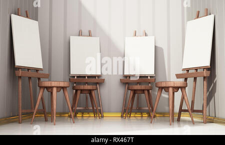 Easels and blank canvases standing in a row. 3D illustration. - Stock Photo