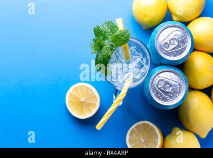 Soda pop can. Refreshing summer drink. Place for text - Stock Photo