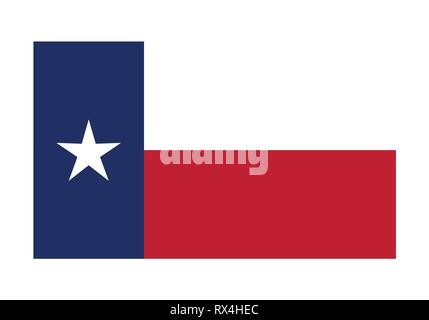 Vector Flag of Texas simple flat design illustration Isolated on White Background - Stock Photo