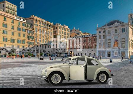 Old iconic Volkswagen Beetle with its door open parked in a paved city square or piazza in Genoa with historic buildings and distant people - Stock Photo