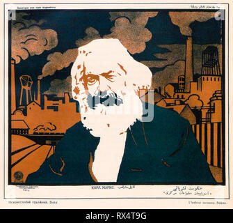 Soviet Poster, Karl Marx portrait in front of factories, 1920 - Stock Photo