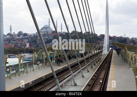 Halic Metro Station, Istanbul / Turkey - October 12 2018: Istanbul Metro, Halic Station, Eminonu view - Stock Photo