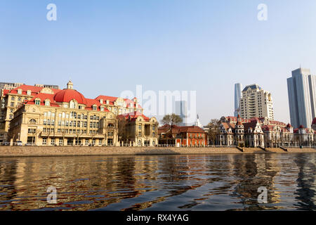 European style building along the Haihe river in the city center of Tianjin, China - Stock Photo