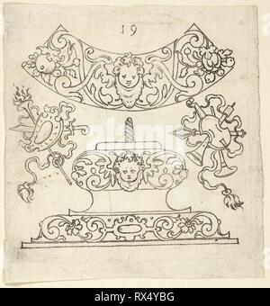 Plate 7, from XX Stuck zum (ornamental designs for goblets and