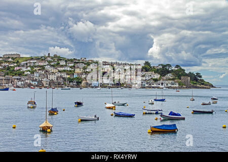 Polruan Cornwall seen from Fowey - Stock Photo