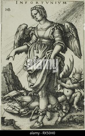Misfortune. Sebald Beham; German, 1500-1550. Date: 1536-1546. Dimensions: 77 x 50 mm (image/sheet,  trimmed unevenly to plate mark). Engraving in black on ivory laid paper. Origin: Germany. Museum: The Chicago Art Institute. - Stock Photo