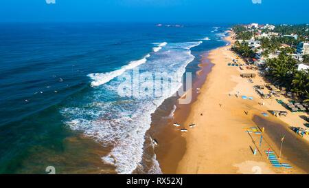 Aerial. Hikkaduwa beach. Sri Lanka. - Stock Photo