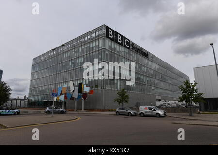 BBC Pacific Quay. BBC Scotland headquarters situated on the River Clyde in Glasgow. Opened by Gordon Brown in September 2007. - Stock Photo