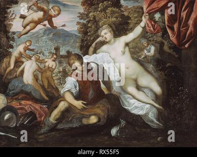 Venus and Mars with Cupid and the Three Graces in a Landscape. Domenico Tintoretto; Italian, 1560-1635; Tintoretto; Italian, 1518-1594; Workshop of Tintoretto; Italian, 1518-1594. Date: 1590-1595. Dimensions: 106.5 × 142.8 cm (41 7/8 × 56 1/4 in.). Oil on canvas. Origin: Italy. Museum: The Chicago Art Institute. - Stock Photo