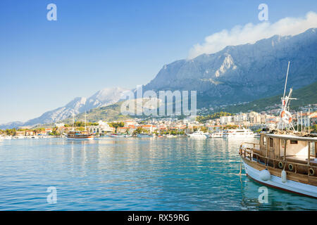 Makarska, Dalmatia, Croatia, Europe - Setting sail from the harbor of Makarska - Stock Photo