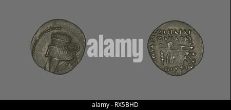 Drachm (Coin) Portraying King Mithradates IV. Persian; Parthia. Date: 130 AD-147 AD. Dimensions: Diam. 2 cm; 3.61 g. Silver. Origin: Khorasan. Museum: The Chicago Art Institute. Author: Ancient Iranian. - Stock Photo