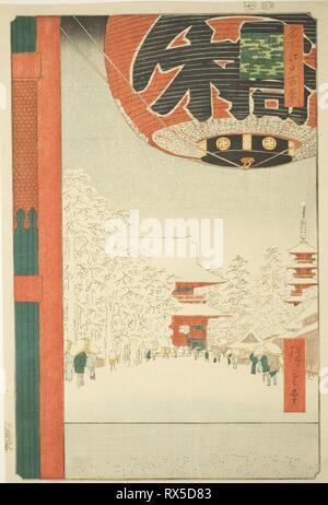 Kinryuzan Temple at Asakusa (Asakusa Kinryuzan), from the series 'One Hundred Famous Views of Edo (Meisho Edo hyakkei)'. Utagawa Hiroshige ?? ??; Japanese, 1797-1858. Date: 1856. Dimensions: 35.5 x 23.8 cm (14 x 9 3/8 in.). Color woodblock print; oban. Origin: Japan. Museum: The Chicago Art Institute. - Stock Photo