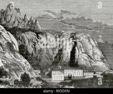 Abbey of Montserrat. Panoramic view. Province of Barcelona, Catalonia, Spain. Engraving. Crónica General de España, Historia Ilustrada y Descriptiva de sus Provincias. Catalonia. 1866.