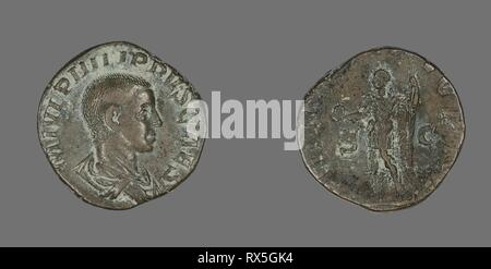 Sestertius (Coin) Portraying King Philip II. Roman, minted in Rome. Date: 244 AD-246 AD. Dimensions: Diam. 2.8 cm; 15.13 g. Bronze. Origin: Roman Empire. Museum: The Chicago Art Institute. Author: ANCIENT ROMAN. - Stock Photo