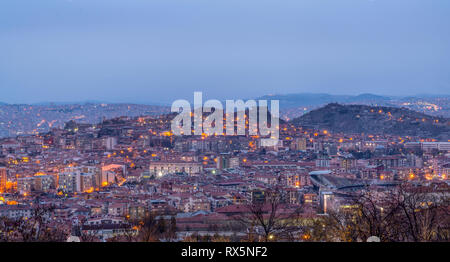 Ankara/Turkey-March 02 2019: Panoramic Ankara view with Ankara Kalesi - Stock Photo