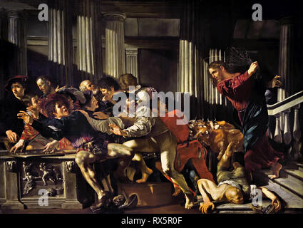 Christ Driving the Merchants from the Temple 1610 by Fransco Boneri. gen, Cecco de Caravaggio,  Italian, Italy, ( Caravaggists, Style of Caravaggio) - Stock Photo
