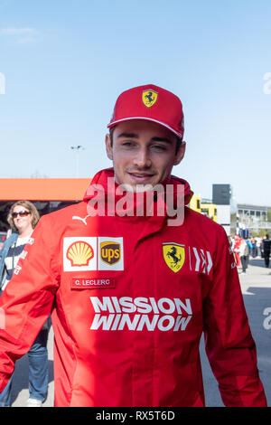 Barcelona, Spain. 18th February, 2019 - Charles Leclerc from Monaco with 16 of Scuderia Ferrari SF90  portrait during the F1 2019 Test. - Stock Photo