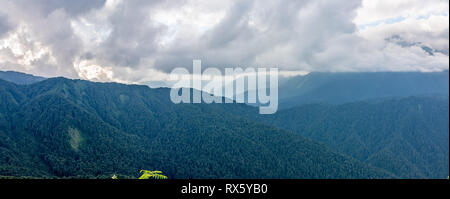 Panoramic view of a mountain range covered with forest in thick clouds. The main Caucasian ridge. Chugush array in the clouds. Environmental Protectio - Stock Photo