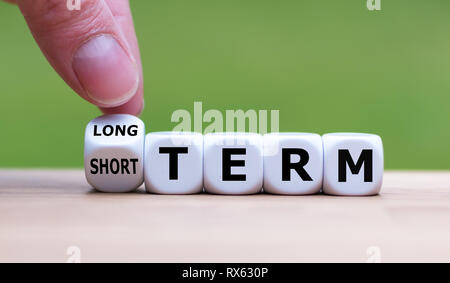 Hand turns a dice and changes the expression 'SHORT TERM' to 'LONG TERM' (or vice versa). - Stock Photo