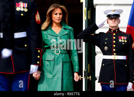Washington, United States. 07th Mar, 2019. US first lady Melania Trump, center, with US President Donald Trump (not seen) await for arrival of Czech Prime Minister Andrej Babis and his wife Monika Babisova to the White House in Washington, USA, March 7, 2019. Credit: Roman Vondrous/CTK Photo/Alamy Live News - Stock Photo