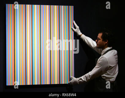 PLEASE NOTE ALL IMAGES UNDER EMBARGO UNTIL FRIDAY 8 MARCH AT 23:00. London, UK. 8th Mar 2019.  Bridget Riley, Songbird, estimate £400,000-600,000 at Christie's exhibition of art from the collection of the late George Michael, featuring works by Damien Hirst, Tracey Emin and Marc Quinn, from its upcoming The George Michael Collection Evening and Online Auctions, on view to the public from 9-15 March 2019. Credit: Nils Jorgensen/Alamy Live News - Stock Photo