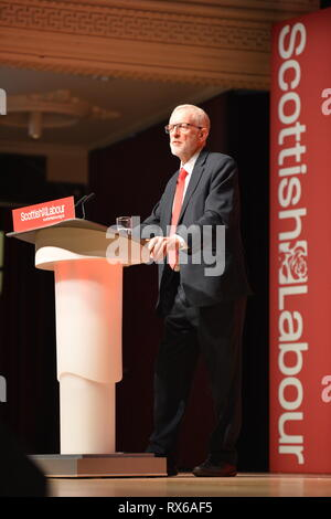Dundee, UK. 8 March 2019. Labour Leader - Jeremy Corbyn addresses conference with a keynote speech. Credit: Colin Fisher/Alamy Live News - Stock Photo