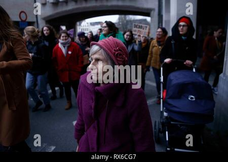 Brussels, Belgium. 8th Mar, 2019. Women take part in a rally during the International Women's Day. Credit: ALEXANDROS MICHAILIDIS/Alamy Live News - Stock Photo